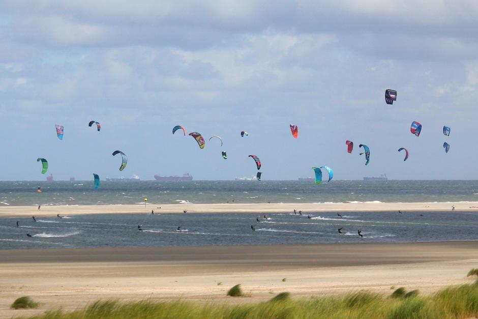 Tientallen kitesurfers, strandwandeling met honden, vol strandterras, close up r