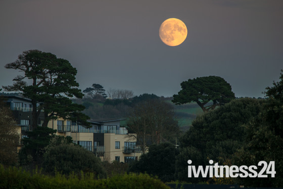 Thursday's moon from the seafront