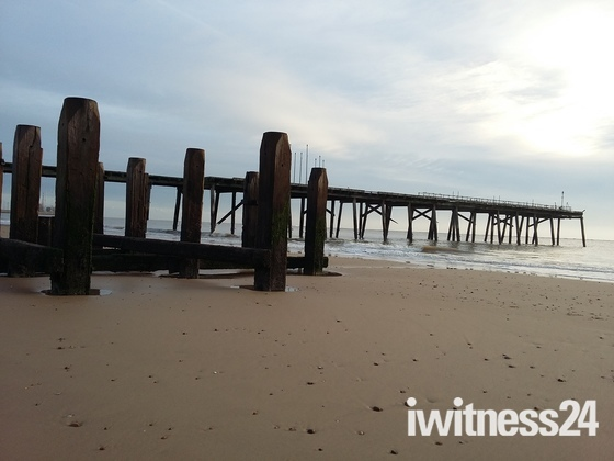 Early morning low tide at lowestoft beach