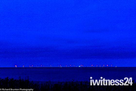 Sheringham Shoal Windfarm at night