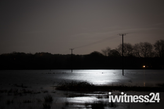 Taverham and Drayton floods by night
