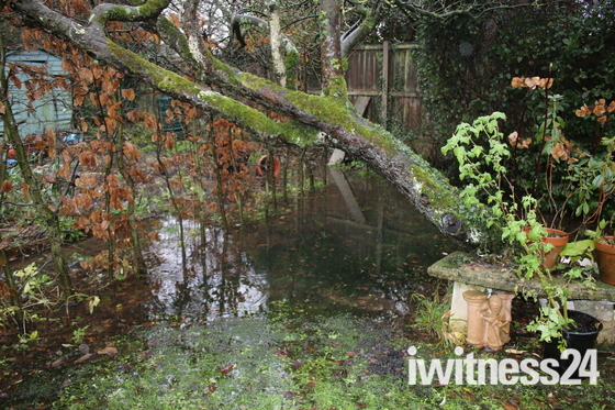 Flooding in a town garden
