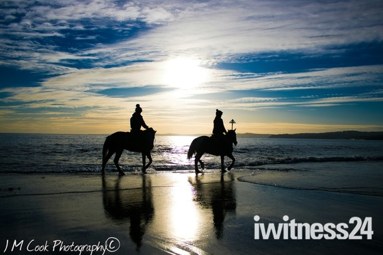 Wintery Beach Horse Ride