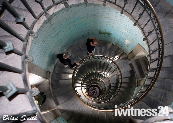 Decreasing Circles to the ground 215ft below.