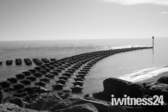 Sunny day in black and white , Felixstowe.
