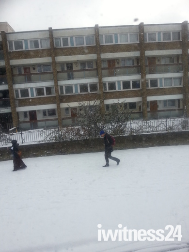 Snowed areas near Bow Church and Mile End Stations, on the way to White Chapel
