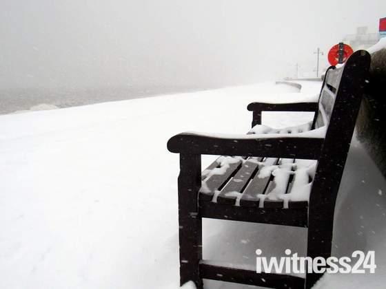 Snowy walk in Seaton