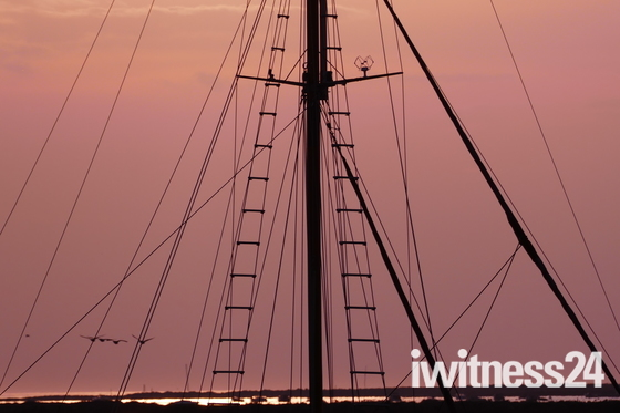 SILHOUETTE. Sunset And Rigging