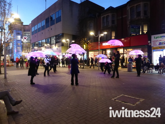 The images of Umbrella Dancing in Ilford High Road