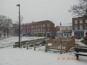 Snow settles in Exmouth Strand