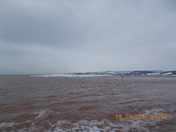 Looking across to Dawlish Warren, from Exmouth in the snow