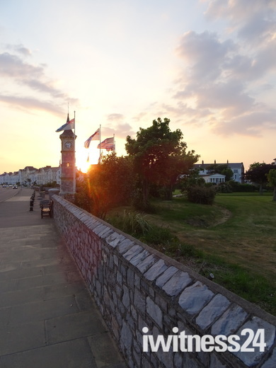 Sunset behind the Exmouth Clock Tower