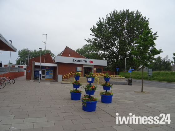Flowers in bloom outside Exmouth Station.
