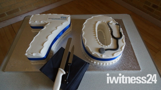 The birthday cake celebrating 70 years of the NHS