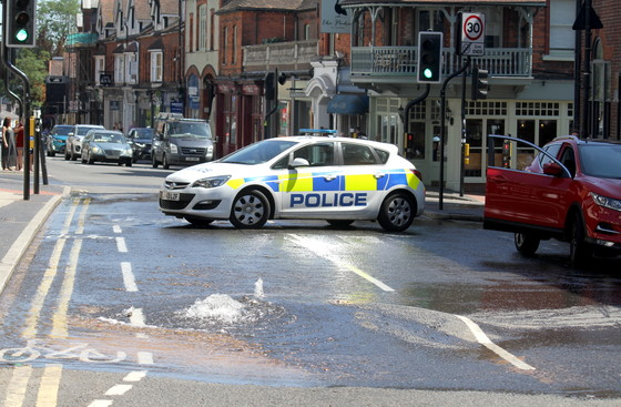 Burst water main, High Street, St. Albans