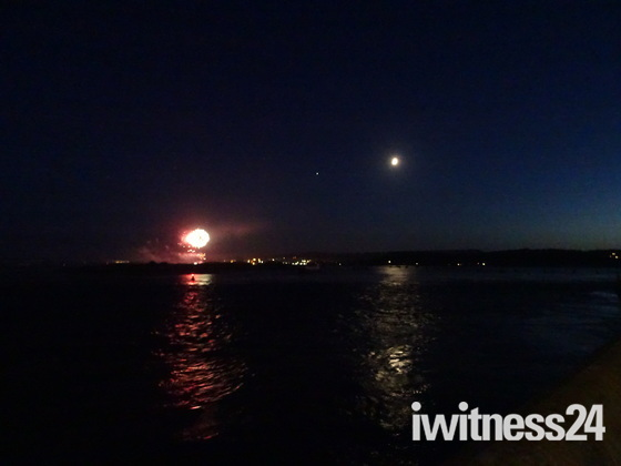 Fireworks coming from Dawlish Warren 16 August 2018
