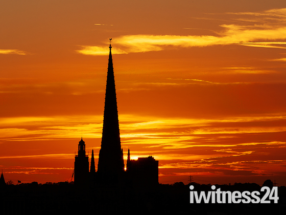 Sunset behind Norwich Cathedral