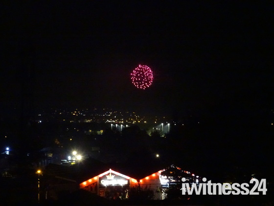 Fireworks seen from Exmouth's Pound Lane Allotments