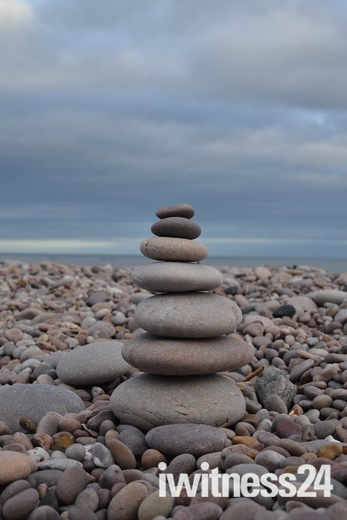 stack of pebbled on Budleigh beach