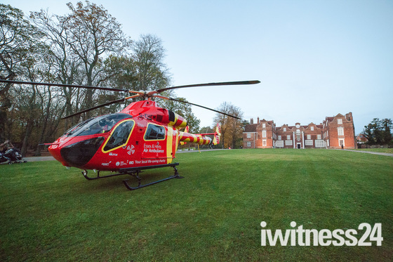 Air Ambulance lands at Christchurch Park outside the Mansion