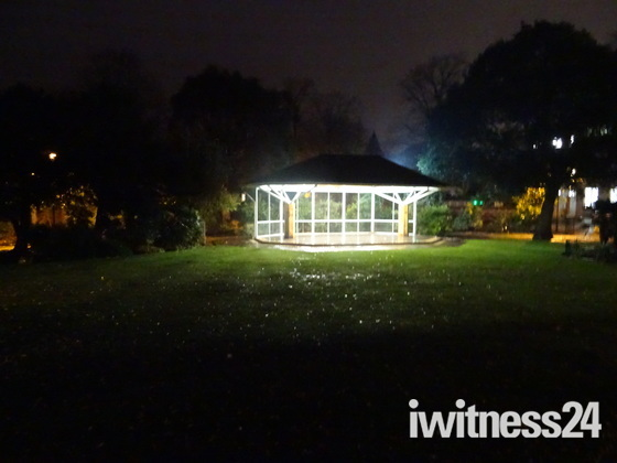 Manor Garden's band stand on a wet night