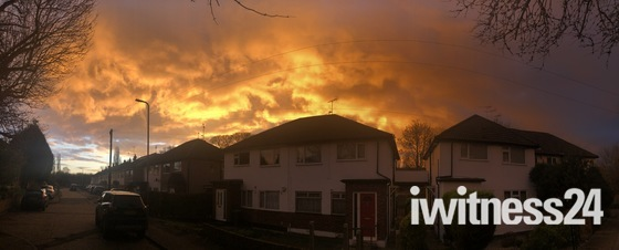 Fire sunset over Hornchurch