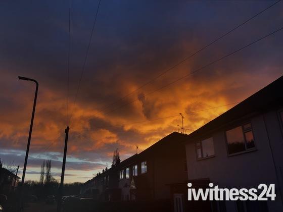 Fire sunset over Hornchurch