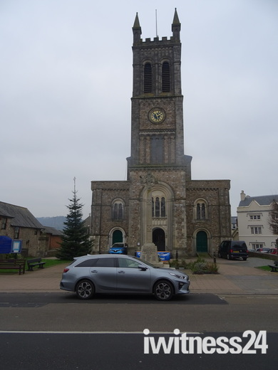 St. Paul's Church, Honiton and its Christmas tree outside.