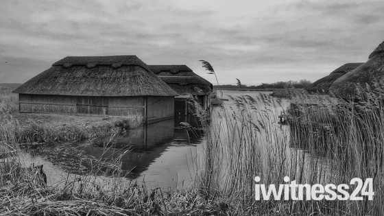 Thatched Boat Houses on Hickling Broad