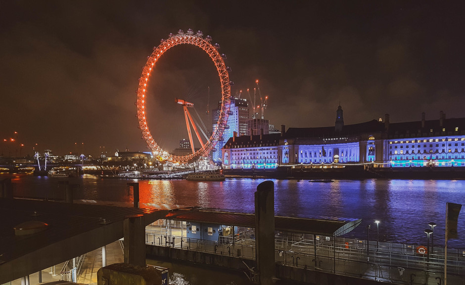 De 'Eye of London' in de nacht