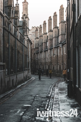 Trinity Lane, Cambridge, in Winter Rain