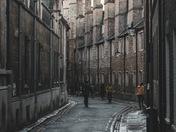 Trinity Lane, Cambridge, in Winter Rain