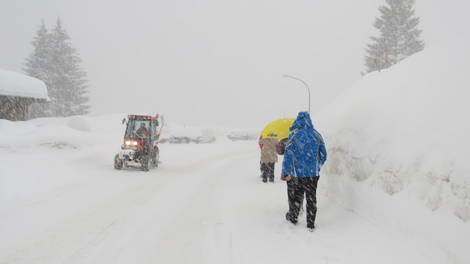 Alpen: slecht zicht tijdens flinke sneeuwval