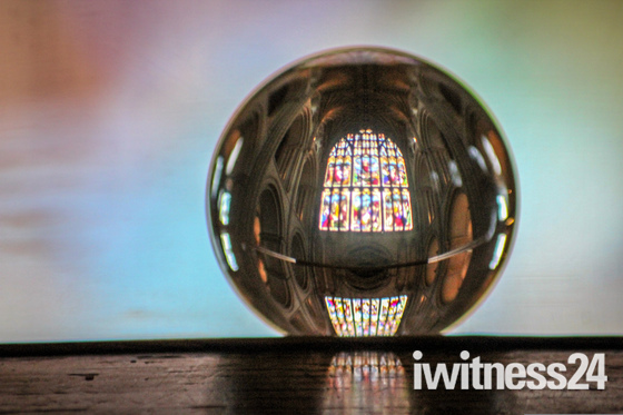 Norwich Cathedral through a lensball