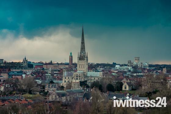 Norwich Winter Skyline from Household Heath