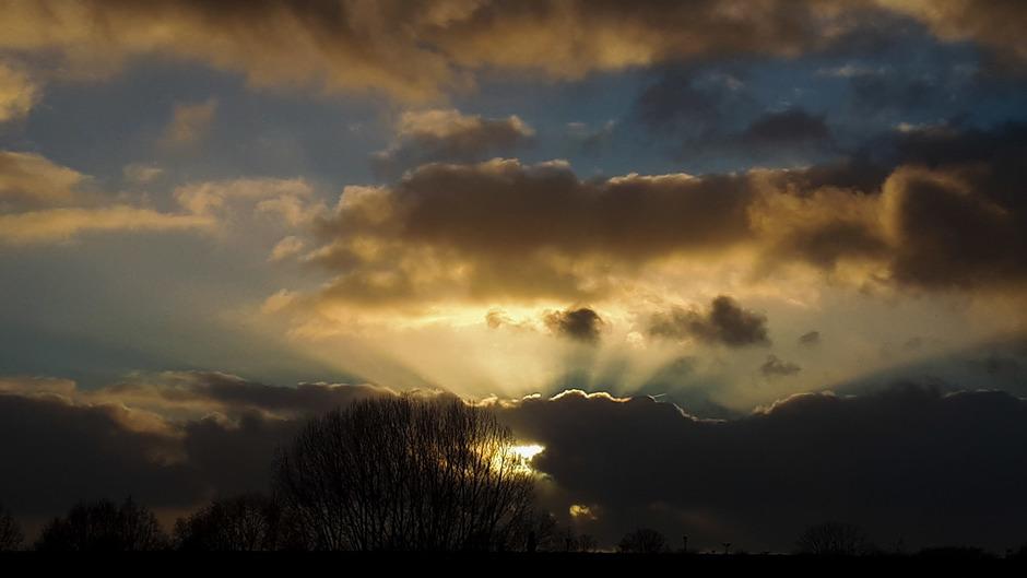 zonsondergang,  jacobsladders,  oude Wetering