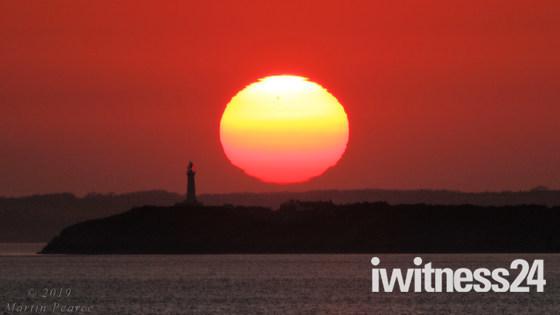 Colourful sunset over Birnbeck and Flat Holm