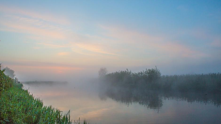 Mist en gekleurde flarden bewolking voor zonsopkomst