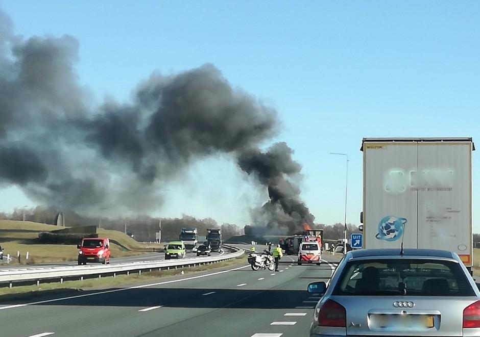 Vrachtwagen in Brand