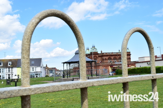 Views Of Gorleston Pavilion Theatre And Gorleston Band Stand Through the Fence