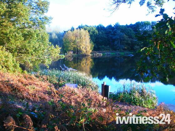 Reflections Kirton Hall lake.