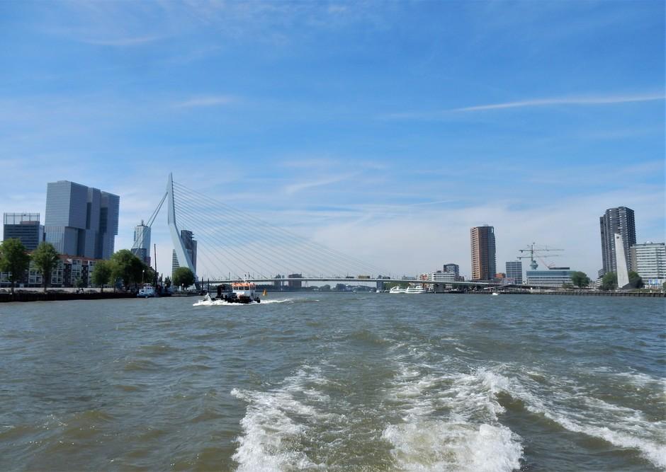 Blauwe lucht boven de Nieuwe Maas
