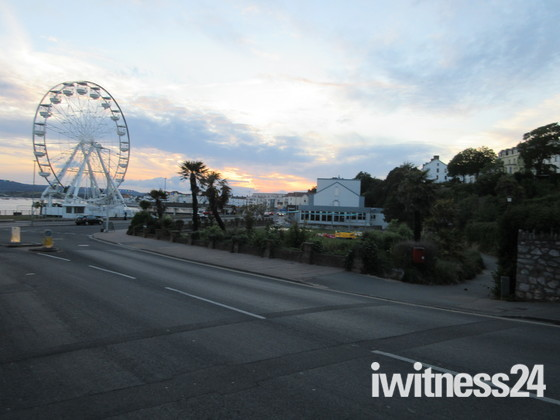 Exmouth Pavilion and Observation Wheel after dusk.