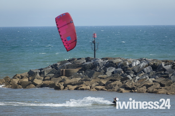 Kitesurfing at Sidmouth -  21 July 2019