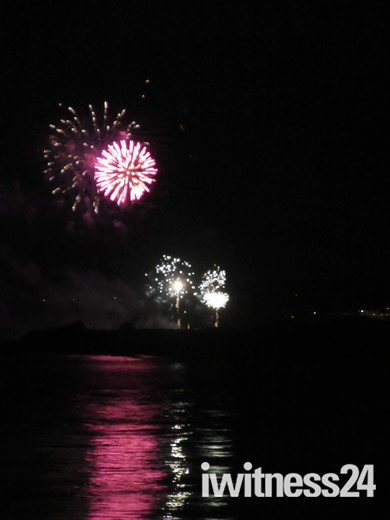 Dawlish Warren Fireworks seen from Exmouth.