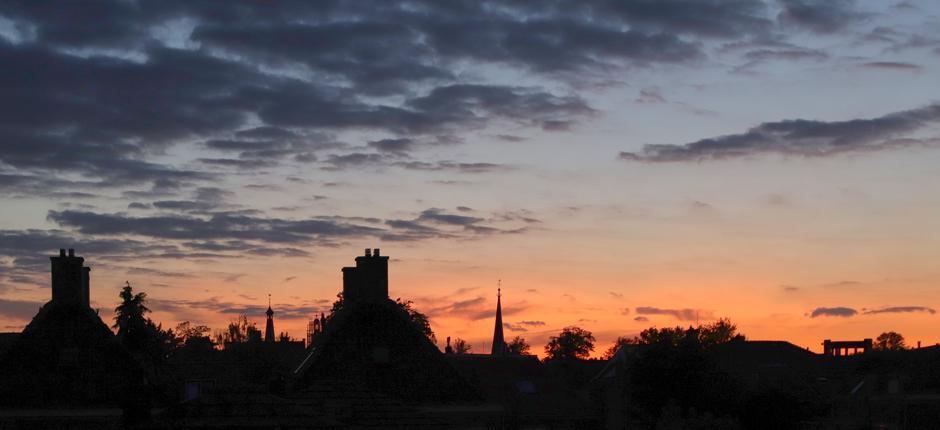 Einde van een mooie zonsondergang boven Gorinchem