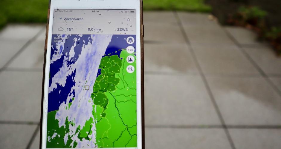 Regen radar vandaag veel in gebruik
