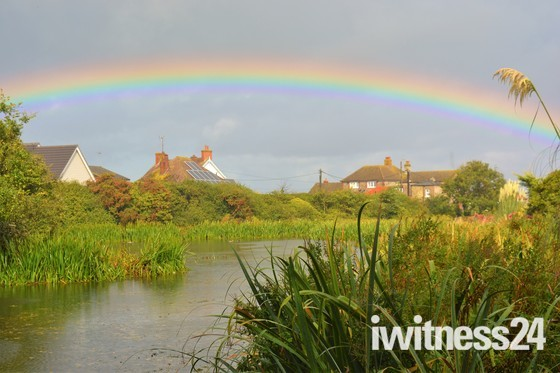 Beautiful rainbow over Mill Pond Mundesley!