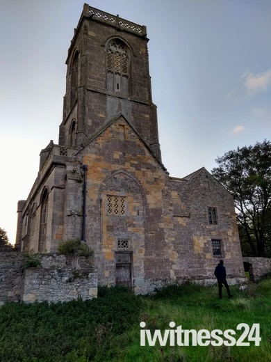 Woodspring Priory at dusk