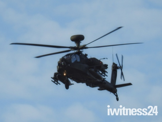 Low flying Apache Helicopter